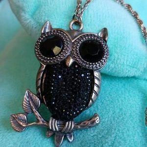 BLACK Rhinestone HOOT OWL pendant necklace